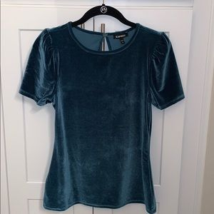 Express Velvet Cap-Sleeved Top